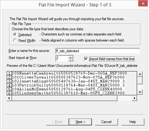 Working with Delimited Flat Files-wizard