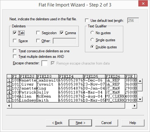 Working with Delimited Flat Files wizard 2