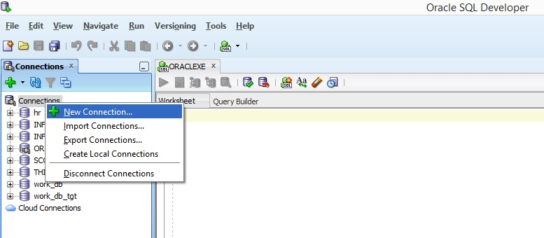 How to create connections in Oracle SQL developer
