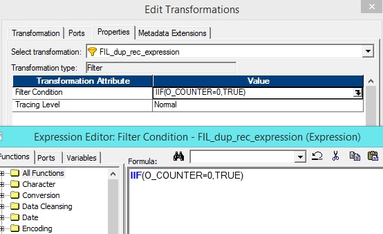 How to remove duplicate records using Expression Transformation